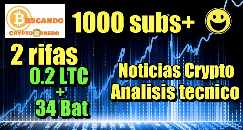 En este momento estás viendo Rifa Doble 0.2 LTC + 34 BAT SUPERAMOS Los 1000 SUBS + Noticias Crypto + Analisi Tecnico