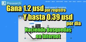 Lee más sobre el artículo PRESEARCH: Gana 1.2 usd por registro y hasta 0.39 usd por dia Buscando en Internet