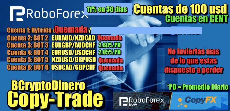 En este momento estás viendo Roboforex CopyTrade Update 11% en 37 dias