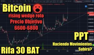 Lee más sobre el artículo Bitcoin Rasin Wedge roto hacia abajo ¿6600? + Noticias + Rifa 30 BAT