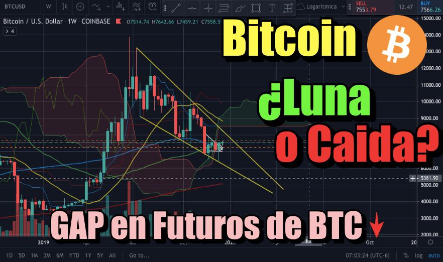 En este momento estás viendo Bitcoin a la LUNA?  Caso Alcista y Bajista **GAP EN FUTUROS DE BTC