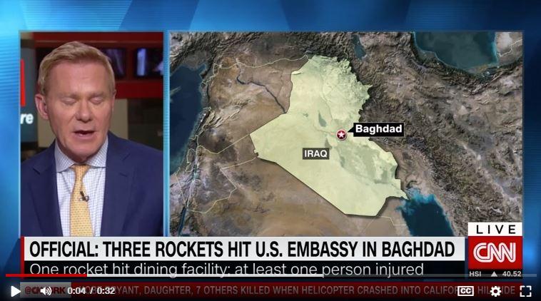 En este momento estás viendo Tres cohetes impactaron en el complejo de la embajada de Estados Unidos en Bagdad, dice un funcionario estadounidense