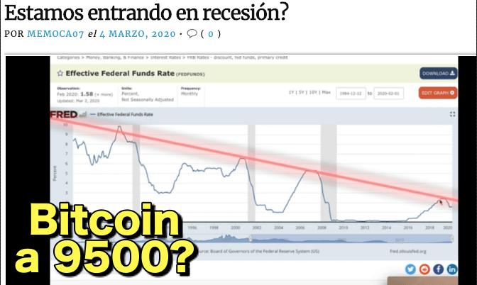 En este momento estás viendo Esta comenzando la resesion Mundial?  Bitcoin en camino a 9500?