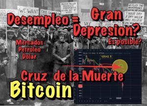 Lee más sobre el artículo Bitocoin y la cruz de la muerte próxima y Desempleo podría llegar a niveles de la gran depresión?