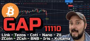 Lee más sobre el artículo BITCOIN GAP en los 11110 usd !!! + Link, Tezos, Coti, Nano, Zil, ZCoin, ZCash, BNB, Iris, Kusama!