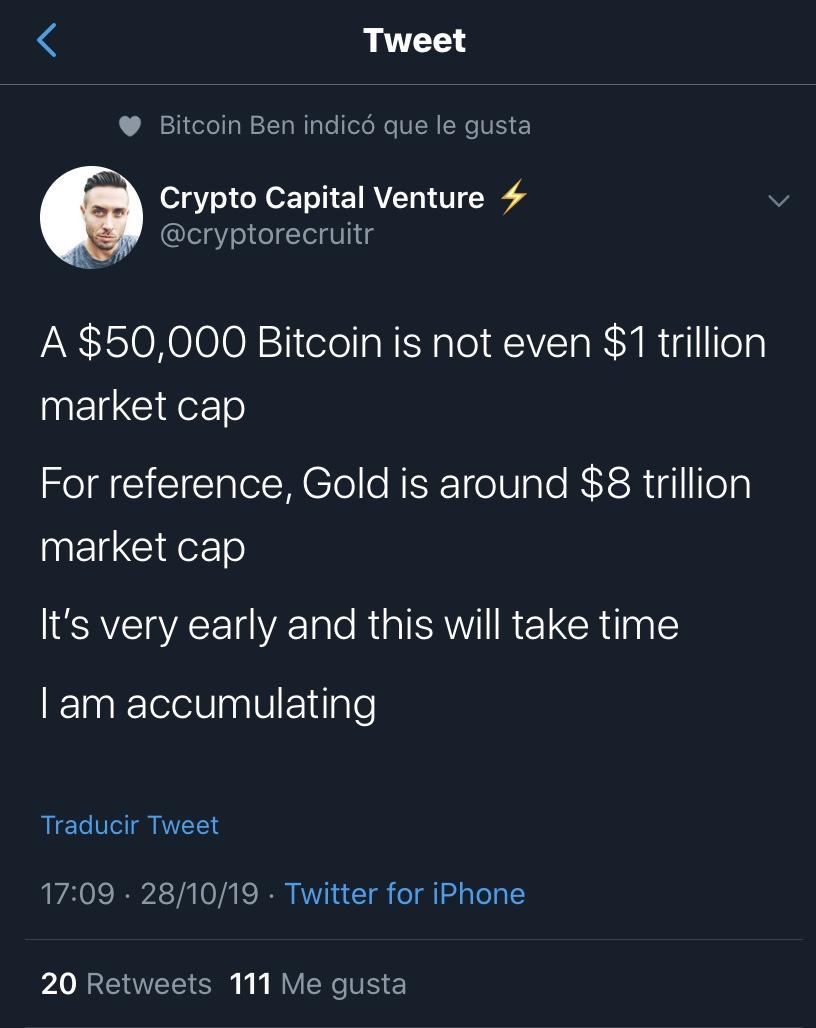 En este momento estás viendo Con un BTC de 50k no seria aun un mercado de Trillon de usd