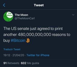 Lee más sobre el artículo El senado de US acaba de aprobar imprimir 480,000,000,000  razones para comprar BTC