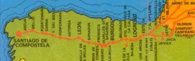 Mapa con la ruta del camino de Santiago