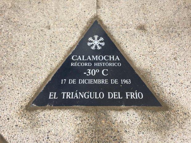 Placa identíficativa del record de Frío en Calamocha