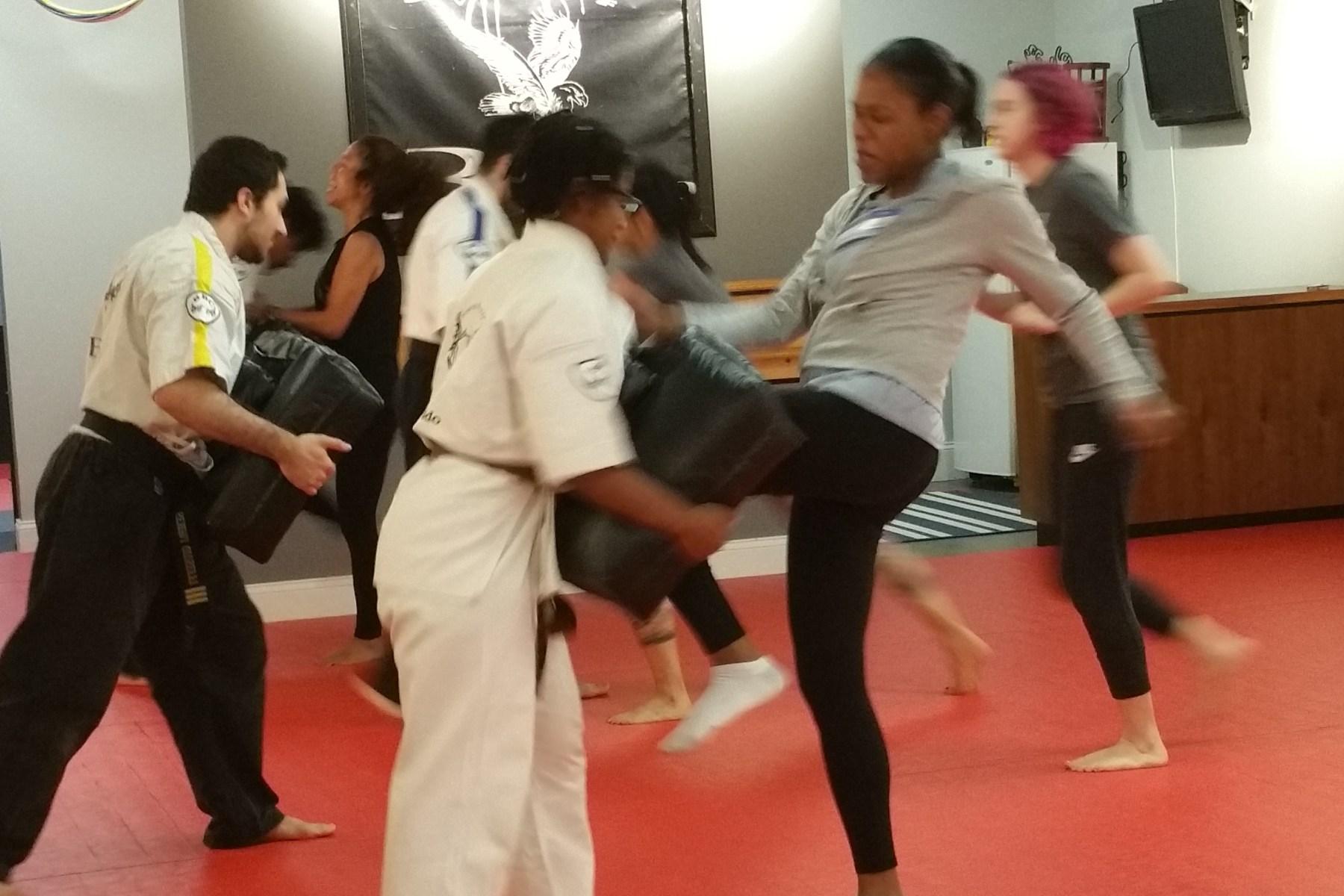 women in self defense class