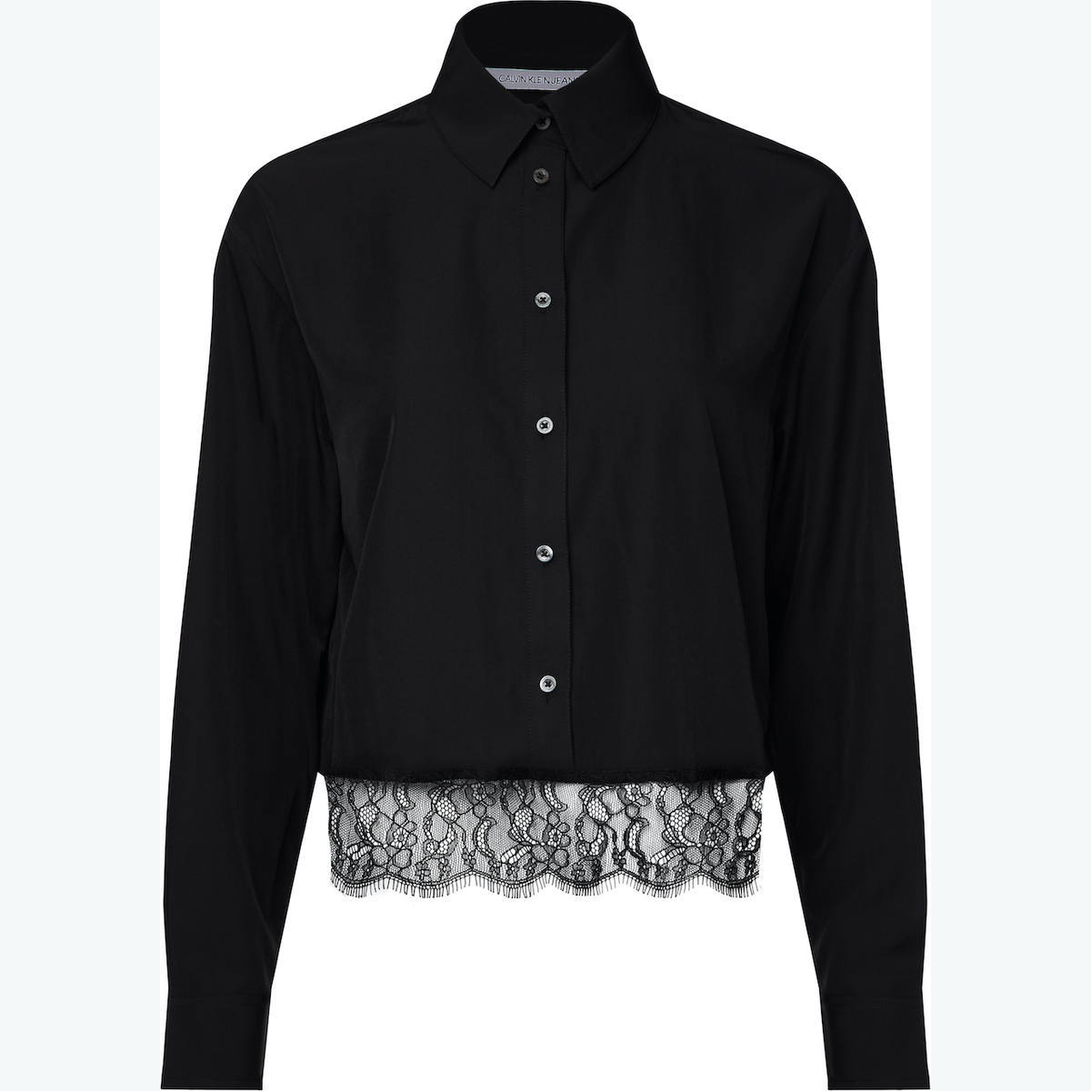 CROPPED SHIRT WITH LACE HEM