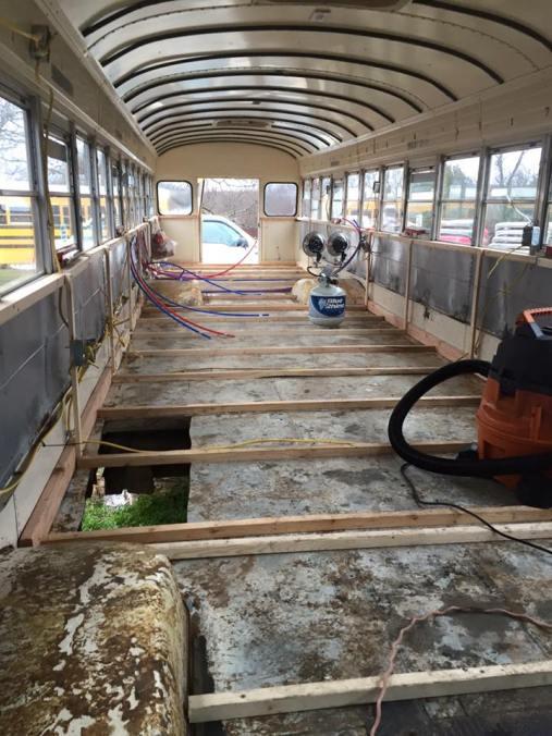 Framing the School Bus Ceiling  bushousebuildout