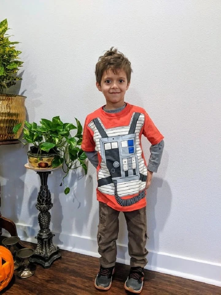a boys tea shirt made out of old clothing