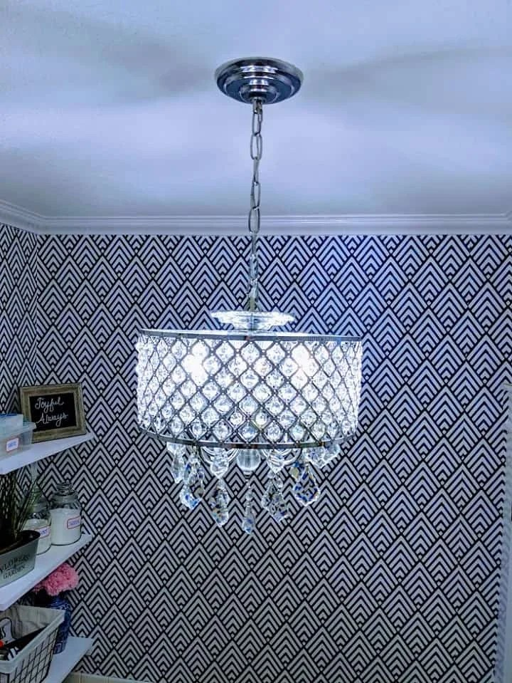 chandelier in the laundry room