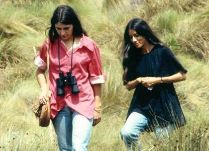 My wife (left) and Ranjini on a walk.