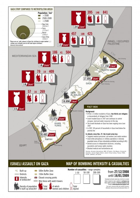 map ofbombardment and deaths in Gaza - Jan 2009