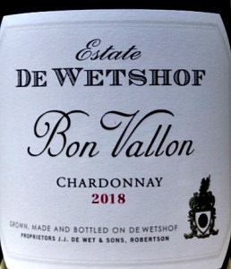De Wetshof Bon Vallon Chardonnay 2019 awarded Top 10 Best Chardonnays in the World 2019 at international competition in Montepelier March 2019 - Best Chardonnay du Monde 2019. Delicious, unoaked, fantastic value