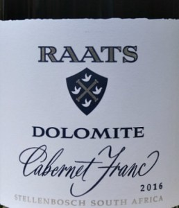 Raats Dolomite Cabernet Franc 2016 with smoky blackberries and hints of leather. Fresh palate of spicy black fruits and great structure and length. A complex wine and great value.