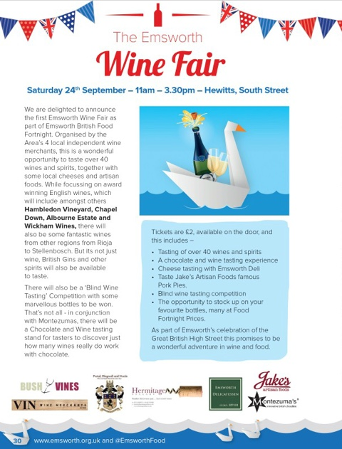 Emworth Wine Fair: opportunity to taste many English and other wines, local Gin, Montezuma chocolates