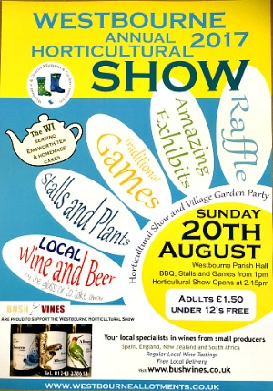 Westbourne Show 2017; come and discover English wines, wines from West Sussex, organic wines. Great afternoon out. Family event. Support your local village; Westbourne Horticultural Show
