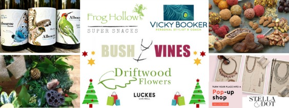Christmas shopping for unique gifts; take the drudge out of shopping, chat with friends over a glass of Bush Vines Wine, Luckes snacks and find unique gifts from Truffles by Frog Hollow catering, natural Christmas decorations Sarah at Driftwood Flowers, Stella & Dot from Vicky Booker