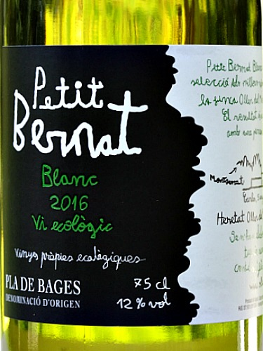Petit Bernat Blanc 2016 (organic) stunning dry white wine. Complex layers of white peach, apples, tangerine and tropical nuances. Beautiful balance of fruit and acidity and excellent length.