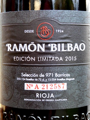 Ramon Bilbao Edición Limitada Crianza 2015, rich, full-bodied and smooth. This is a modern, complex and stylish Rioja like a top Reserva in style. 91 points Tim Atkin MW. Excellent balance of rich dark fruit and toasty French oak with capacity to age very well, but delicious now.