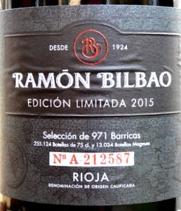 Ramon Bilbao Edición Limitada Crianza 2016, rich, full-bodied and smooth. This is a modern, complex and stylish Rioja like a top Reserva in style. 91 points Tim Atkin MW. Excellent balance of rich dark fruit and toasty French oak with capacity to age very well, but delicious now.