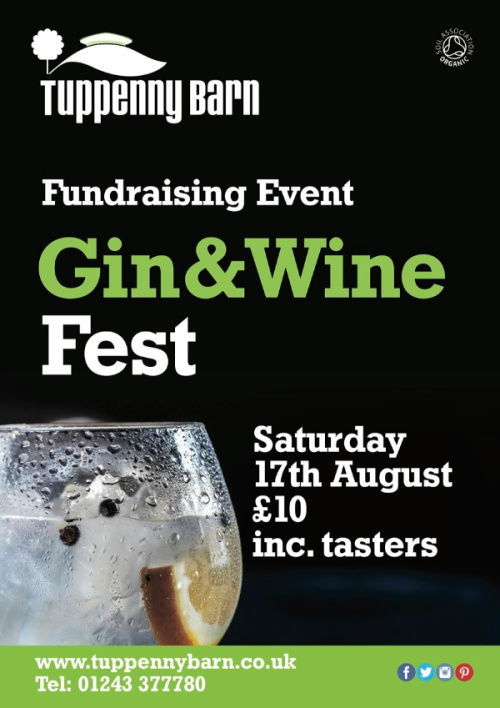Tuppenny Barn holds its first Gin & Wine Fest on Sat 17 August. Taste West Sussex Wines and organiic Spanish Wines and help raise money for this great local charity