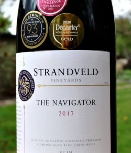 Strandveld The Navigator 2017 Decanter Gold Medal Winner 95 points. Stunning structure Rhone style wine from top producer in South Africa. Like a cross between Cote Rotie and Cairanne. Excellent price from Bush Vines