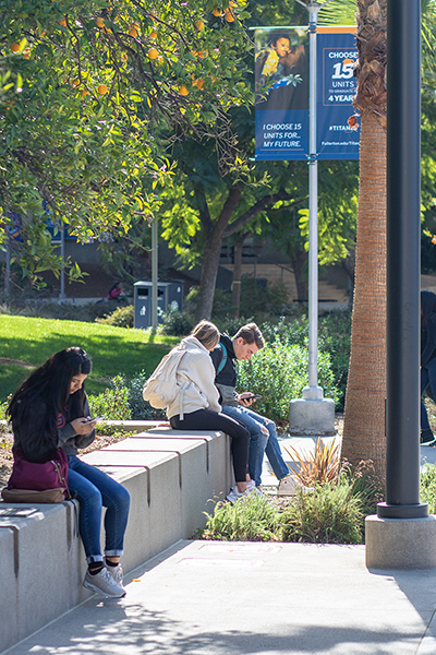 Students sit on campus looking at cell phones