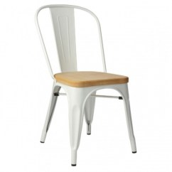 Tolix Side Chair Metal Accessories Wooden Seat Moredesign