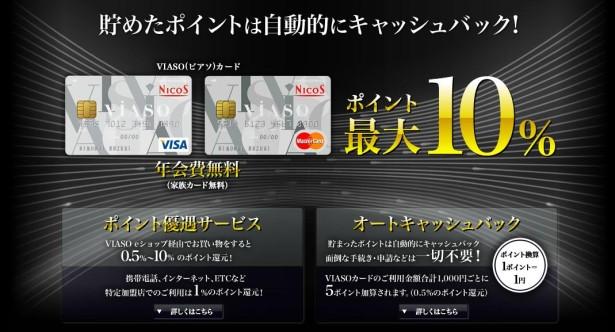 2015年9月【A8セルフバック】年会費無料!VIASO(ビアソ)カード 入会キャンペーン