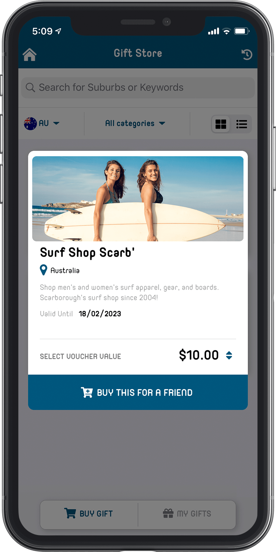 screenshot of the litt app on a mobile screen, surf shop voucher
