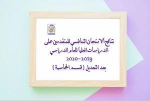Read more about the article نتائج الامتحان التنافسي للمتقدمين على الدراسات العليا للعام الدراسي 2019-2020 (قسم المحاسبة)