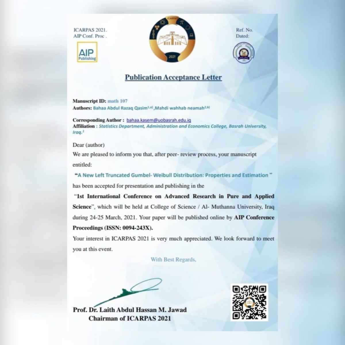 تدريسي في جامعة كربلاء يشارك في مؤتمر دولي للعلوم الصرفة والتطبيقية .