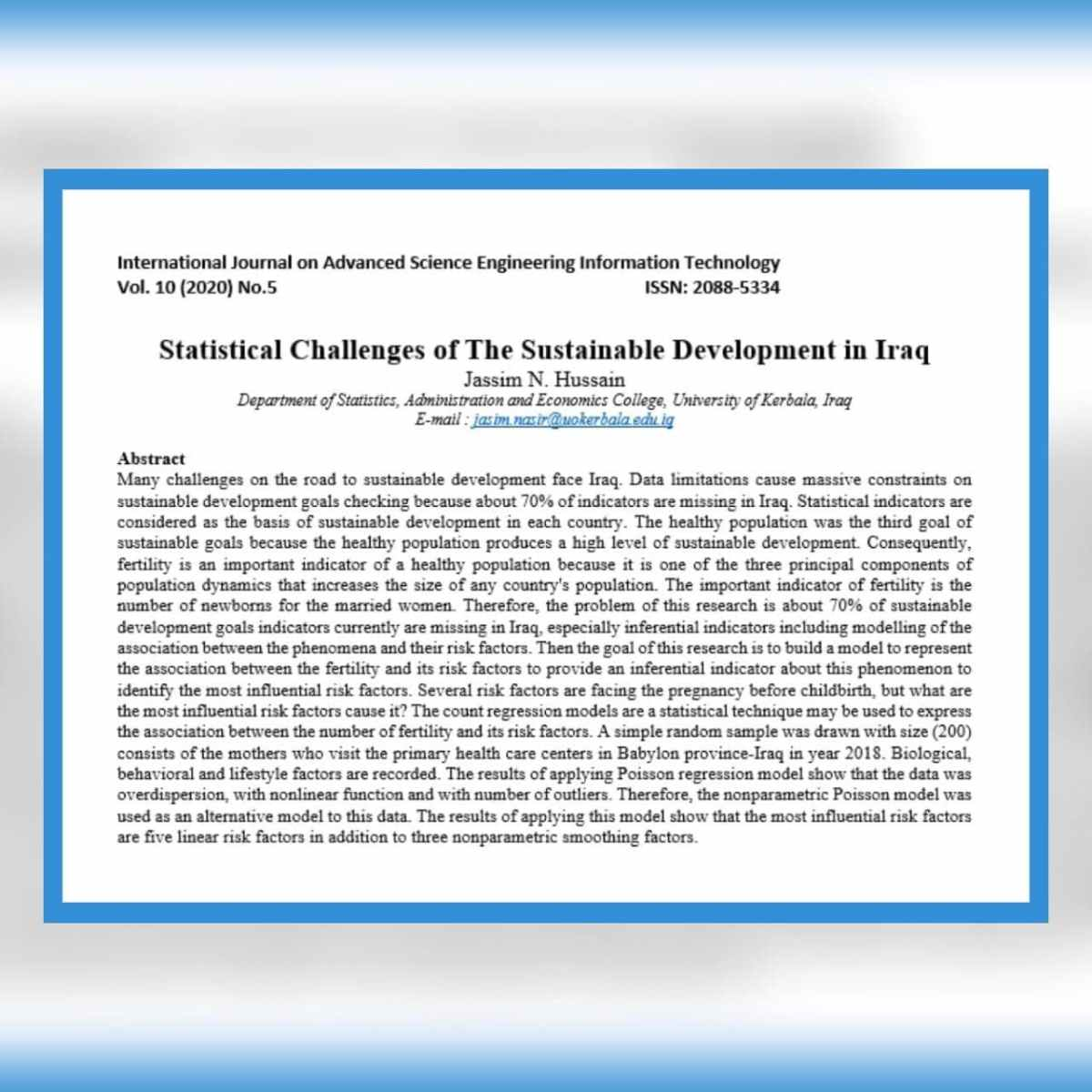 تدريسي من جامعة كربلاء ينشر دراسة علمية في مجلة عالمية