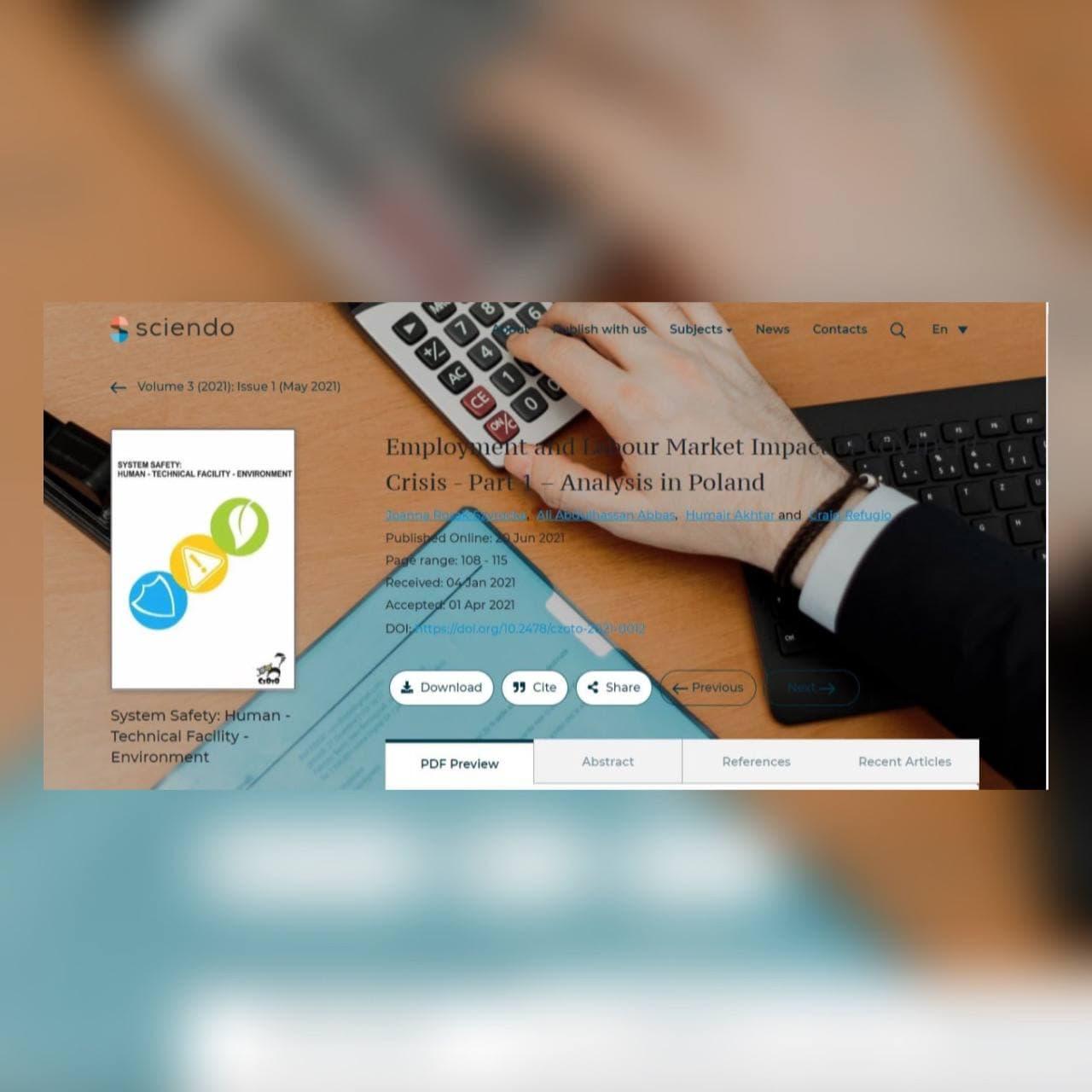 Read more about the article فريق بحثي من جامعة كربلاء وجامعة تشيستوشوا ينشر مقالة علمية عن التوظيف وتأثير سوق العمل لأزمة COVID-19