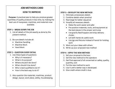TWI - Job Methods