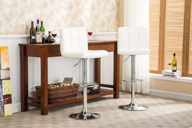 The Swivel PU Leather Adjustable Hydraulic Bar Stool by Roundhill-bar-stool-sets