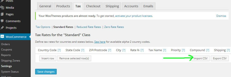Import Taxes in WooCommerce