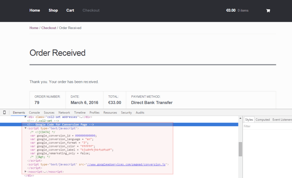 WooCommerce: Add Conversion Tracking Code to Thank You Page