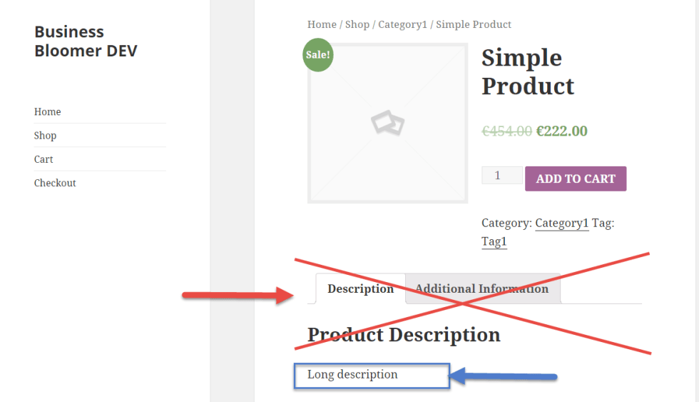 WooCommerce: Remove Tabs & Display Long Description