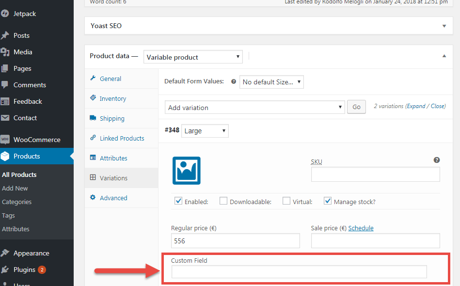 WooCommerce: Add Custom Field to Each Product Variation