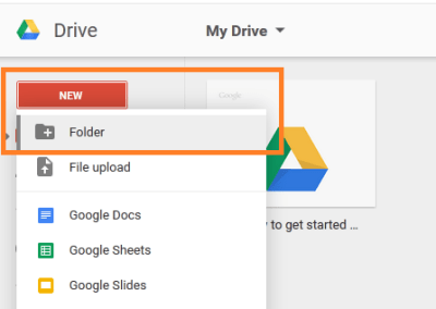 "New look for the ""Create"" menu in Drive"
