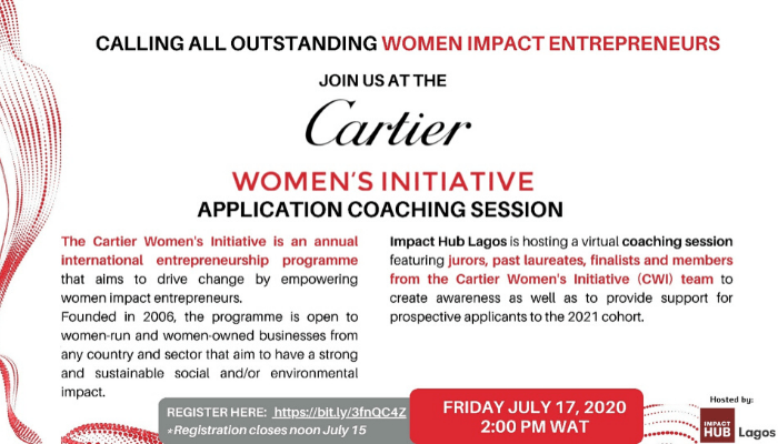 Cartier Women's Initiative: Application Coaching Session - Businessday NG