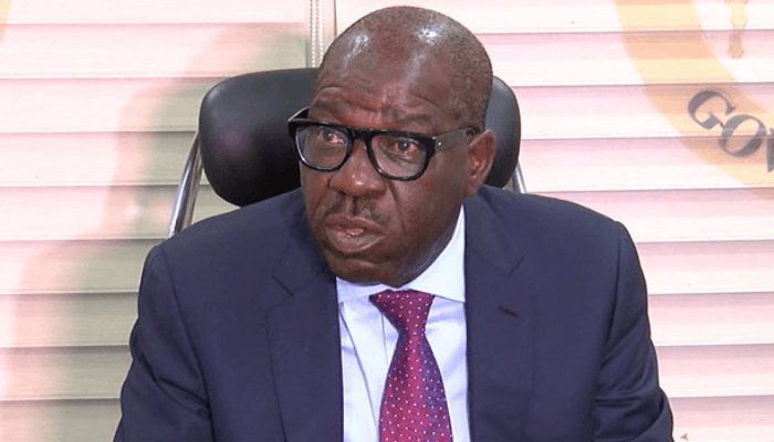 Edo state governor wearing suit