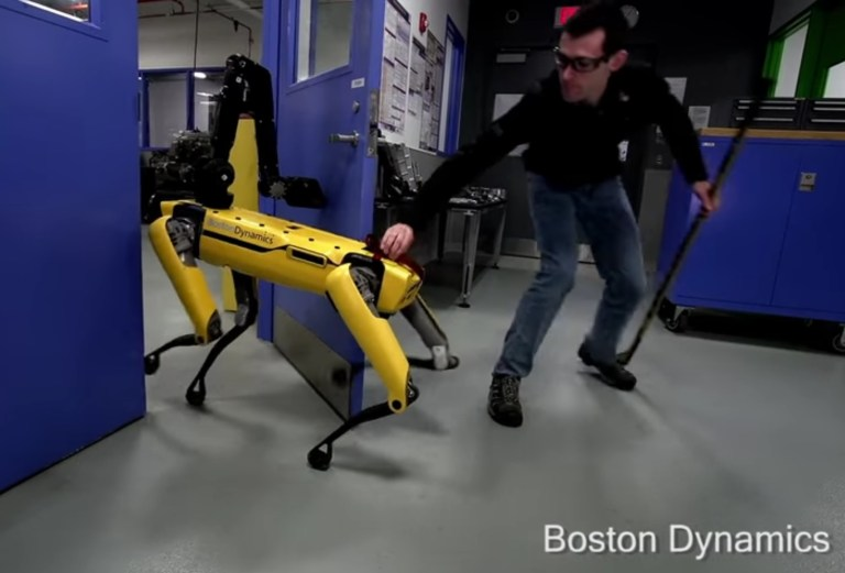 robot abuse - Humans sow the seeds of destruction by abusing the poor robot by simply trying to break through a door