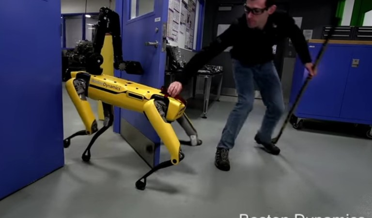 Humans sow the seeds of destruction by abusing the poor robot by simply trying to break through a door