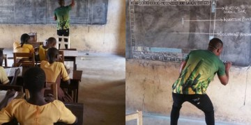 akoto - Teacher in Ghana who used the blackboard to explain computers gets from the love of Microsoft